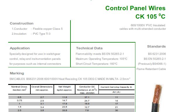Heat Resistant Type CK 105°C. 600/1000V