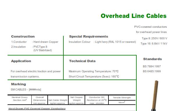 Overhead Line – Type 8 250V/600V